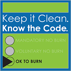 Keep it Clean. Know the Code. Today's burn code: Green - Ok to burn.
