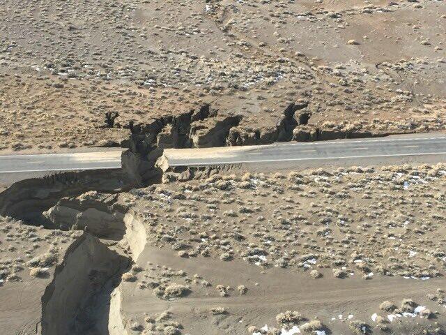 State Route 446 split in half
