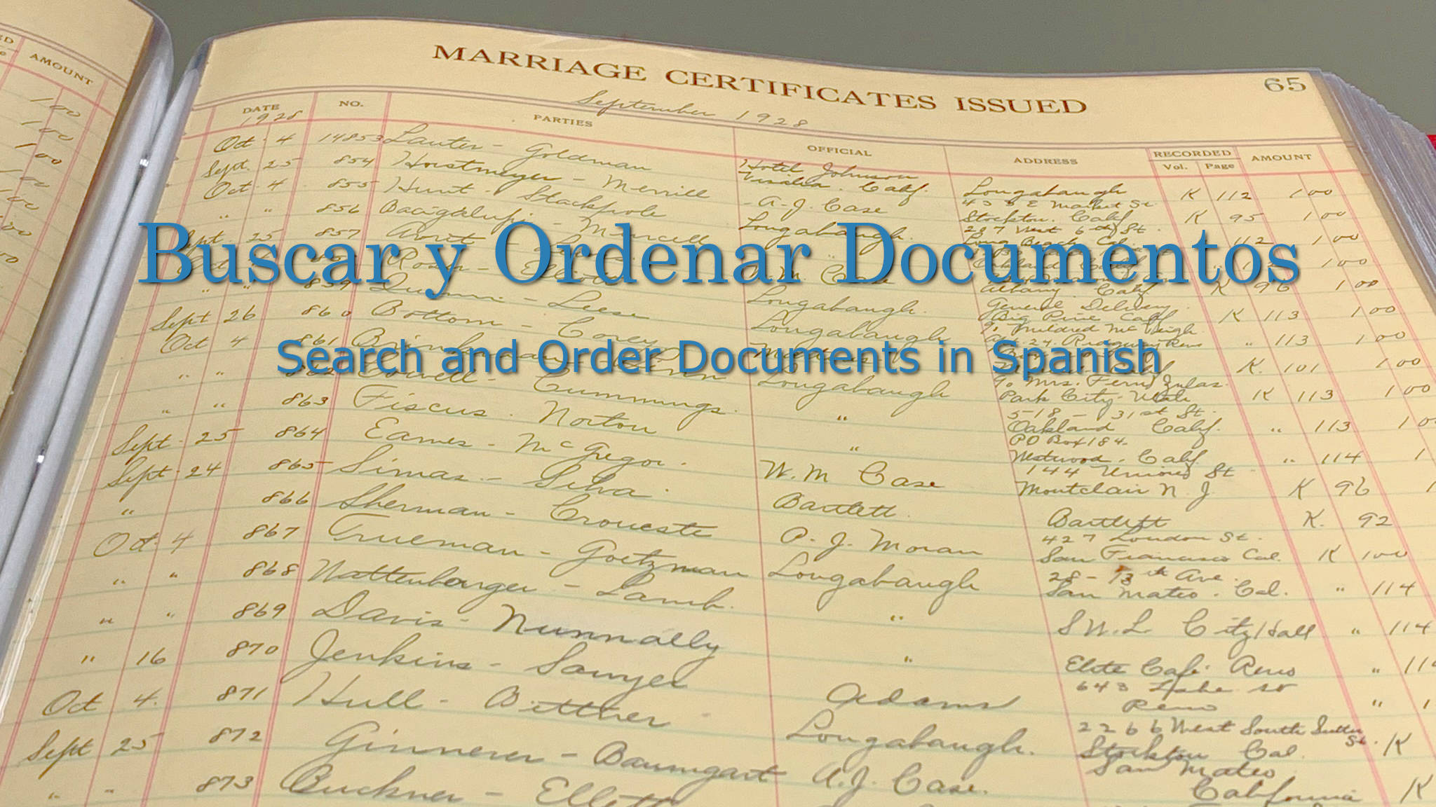Vintage Marriage Certificate Washoe County Nevada: Office Of The County Recorder
